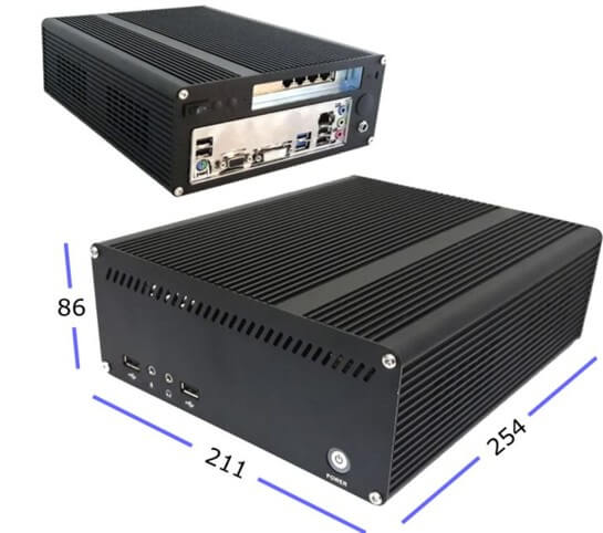 Mini-PC 211x254x86mm for open source firewall